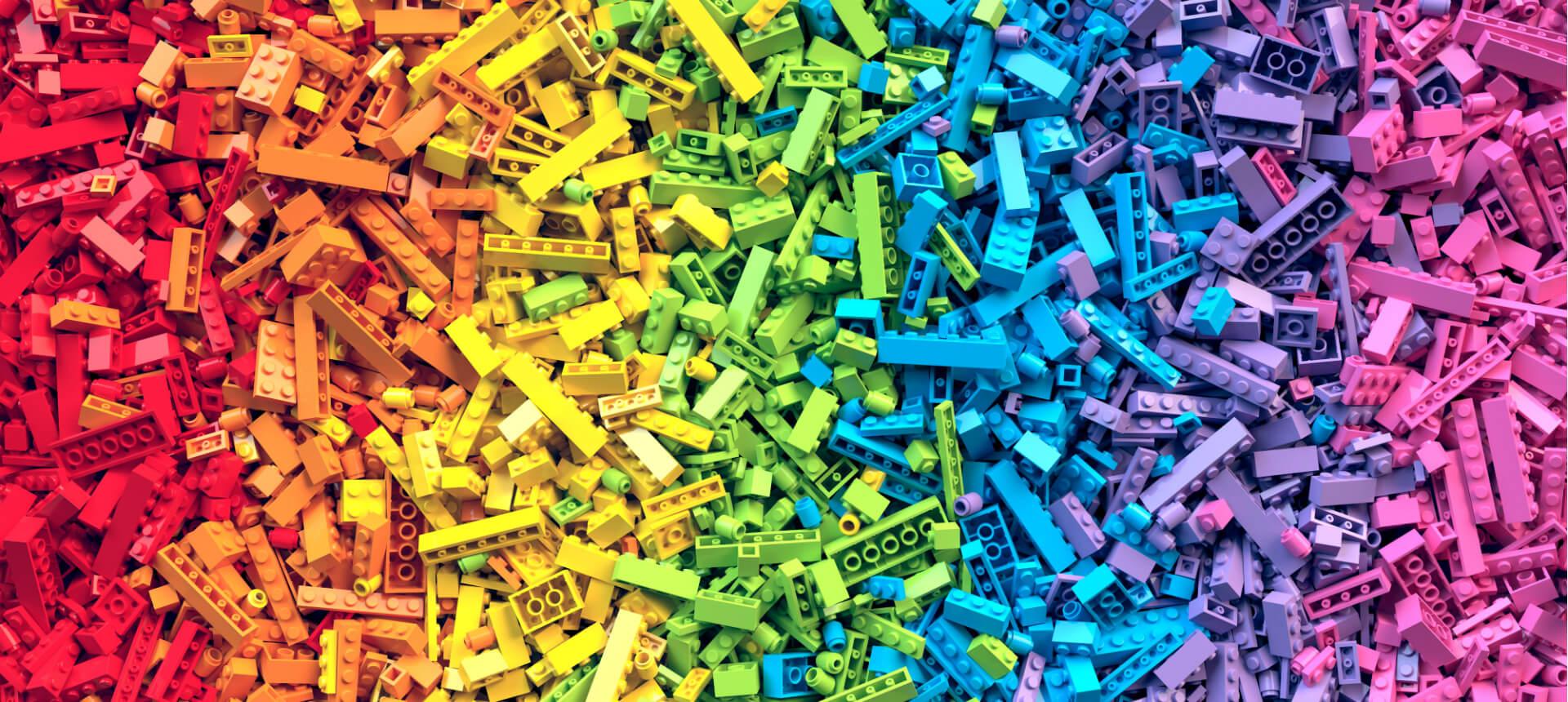 Polymersteine Lego bunt