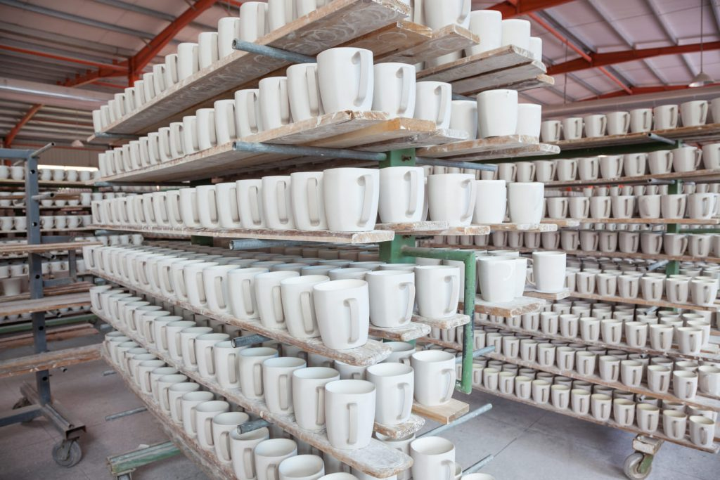 Sintering process - porcelain cups before firing