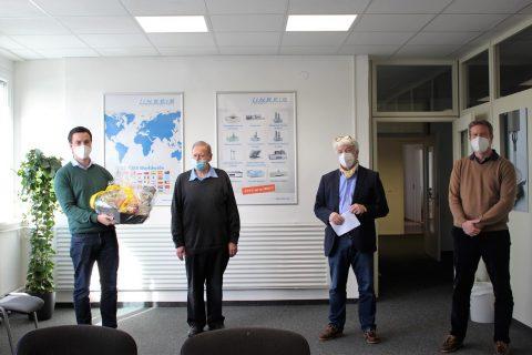 Verabschiedung Herr Rädel Februar 2021 mit Vincent Linseis, Hartwig Rädel, Claus Linseis und Florian Linseis